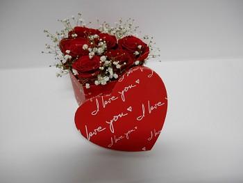 Box srdce růže
