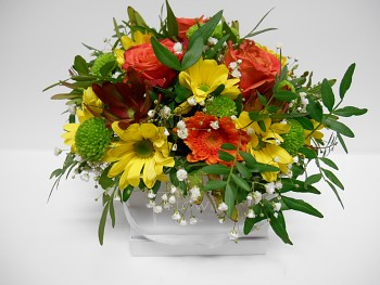 Květinový box mix bílá menší